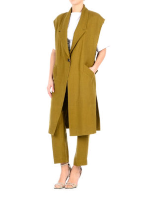 Erika Cavallini: knee length coats online - Mo linen sleeveless coat