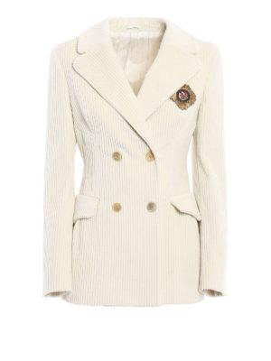 Ermanno Scervino: blazers - Corduroy double-breasted blazer
