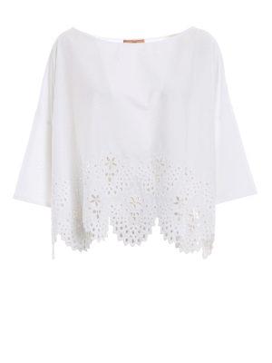 ERMANNO SCERVINO: bluse - Blusa boxy in cotone e pizzo