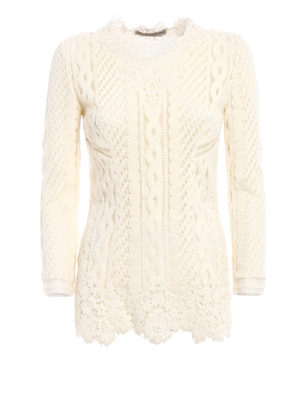 Ermanno Scervino: blouses - Lace and knit see-through blouse