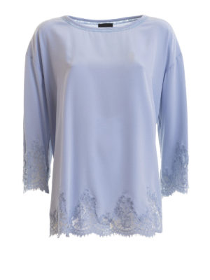 8cd0635e3430 ERMANNO SCERVINO  bluse - Blusa in seta con bordi in pizzo