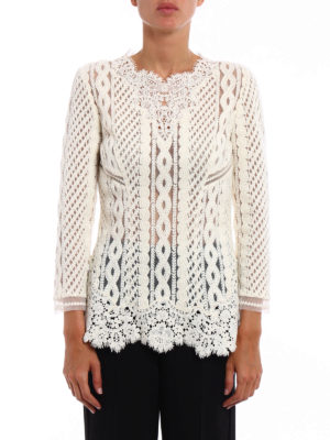 Ermanno Scervino: blouses online - Lace and knit see-through blouse