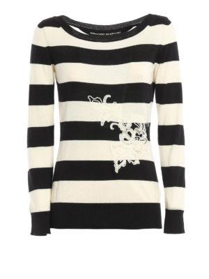 Ermanno Scervino: boat necks - Embroidered cotton sweater