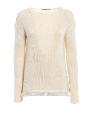 Ermanno Scervino: boat necks - Lace detailed cashmere sweater