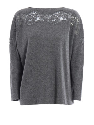 Ermanno Scervino: boat necks - Lace detailed wool sweater