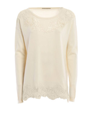 Ermanno Scervino: boat necks - Lace embellished wool blend sweater