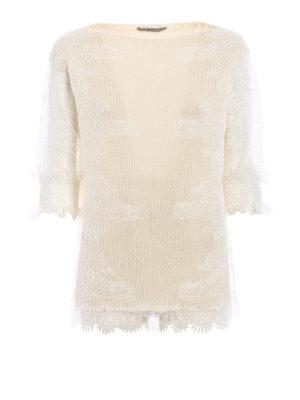 Ermanno Scervino: boat necks - Lace panelled cashmere sweater