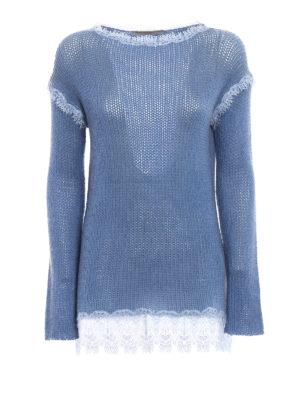 Ermanno Scervino: boat necks - Lace trimmed cashmere sweater