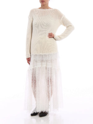 Ermanno Scervino: boat necks online - Lace detailed cashmere sweater