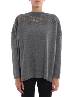 Ermanno Scervino: boat necks online - Lace detailed wool sweater