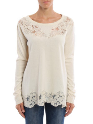 Ermanno Scervino: boat necks online - Lace embellished wool blend sweater