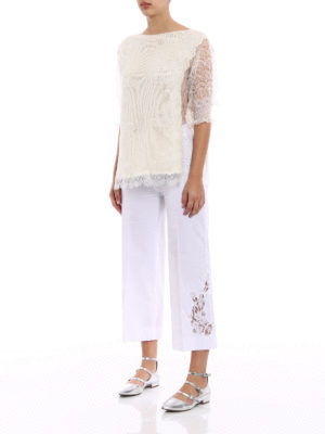 Ermanno Scervino: boat necks online - Lace panelled cashmere sweater
