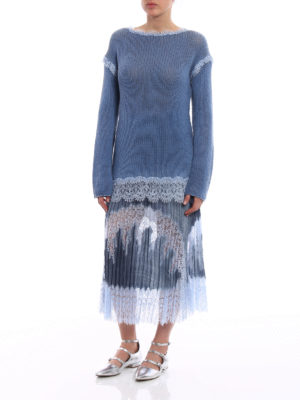 Ermanno Scervino: boat necks online - Lace trimmed cashmere sweater