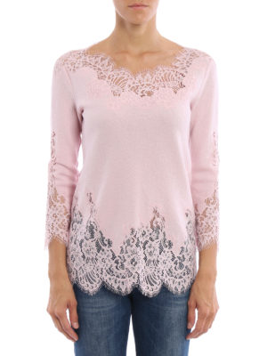 Ermanno Scervino: boat necks online - See-through lace detailed sweater