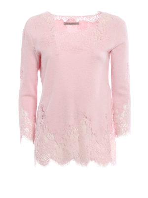 Ermanno Scervino: boat necks - See-through lace detailed sweater
