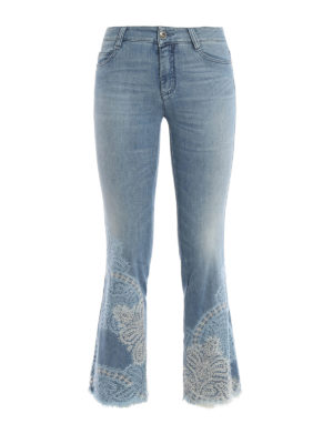 Ermanno Scervino: bootcut jeans - Lace detailed crop jeans
