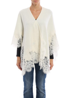Ermanno Scervino: Capes &  Ponchos online - See-through lace trimmed wool cape