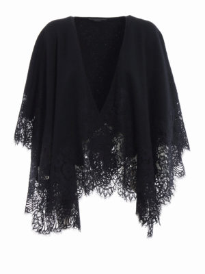 Ermanno Scervino: Capes &  Ponchos - See-through lace trimmed wool cape