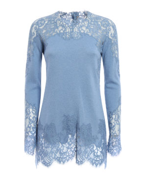 Ermanno Scervino: crew necks - Lace embellished crew neck sweater