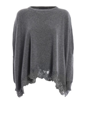 Ermanno Scervino: crew necks - Lace trimmed cashmere blend sweater