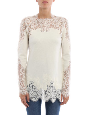 Ermanno Scervino: crew necks online - Lace embellished crew neck sweater