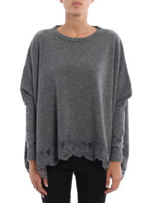 Ermanno Scervino: crew necks online - Lace trimmed cashmere blend sweater