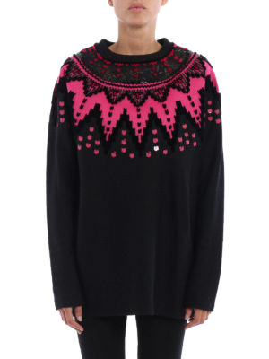 Ermanno Scervino: crew necks online - Velvet applique sweater