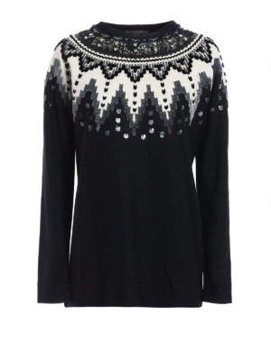 Ermanno Scervino: crew necks - Velvet applique sweater