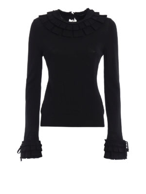 Ermanno Scervino: crew necks - Viscose sweater with pleating