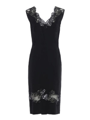 Ermanno Scervino: evening dresses - Lace panelled cady sheath dress