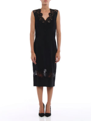 Ermanno Scervino: evening dresses online - Lace panelled cady sheath dress