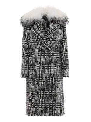 ERMANNO SCERVINO: Pellicce e montoni - Cappotto in lana bicolore e inserto pelliccia