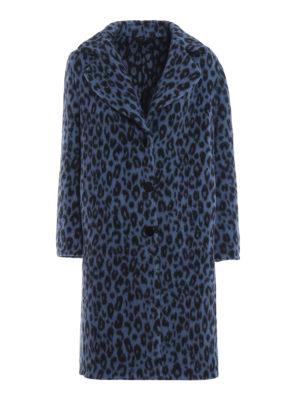 ERMANNO SCERVINO: cappotti al ginocchio - Cappotto in misto lana blu stampa animalier