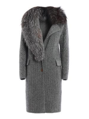 Ermanno Scervino: knee length coats - Asymmetric fox fur herringbone coat