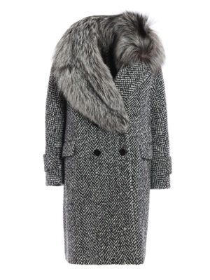 Ermanno Scervino: knee length coats - Fox embellished double-breast coat