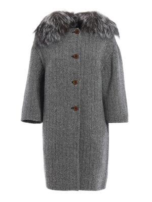 Ermanno Scervino: knee length coats - Fox fur detailed herringbone coat