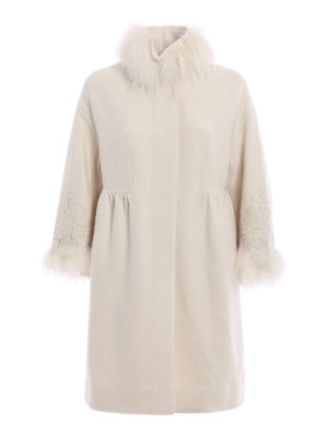 Ermanno Scervino: knee length coats - Fur and lace embellished coat