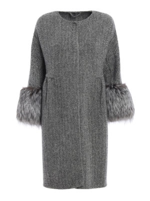 Ermanno Scervino: knee length coats - Fur cuffed collarless chevron coat