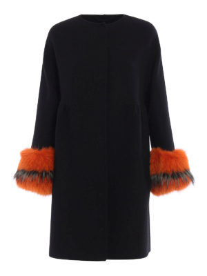 Ermanno Scervino: knee length coats - Fur cuffed collarless coat