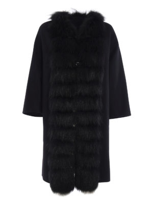Ermanno Scervino: knee length coats - Fur trimmed angora and wool coat