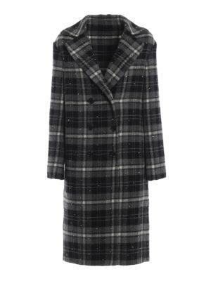 ERMANNO SCERVINO: cappotti al ginocchio - Cappotto doppiopetto scozzese con strass