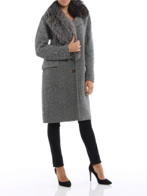 Ermanno Scervino: knee length coats online - Asymmetric fox fur herringbone coat