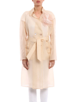Ermanno Scervino: knee length coats online - Double-breasted organdie overcoat