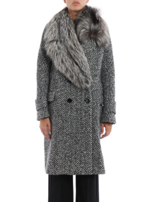 Ermanno Scervino: knee length coats online - Fox embellished double-breast coat