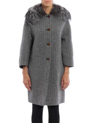 Ermanno Scervino: knee length coats online - Fox fur detailed herringbone coat