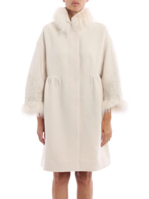 Ermanno Scervino: knee length coats online - Fur and lace embellished coat
