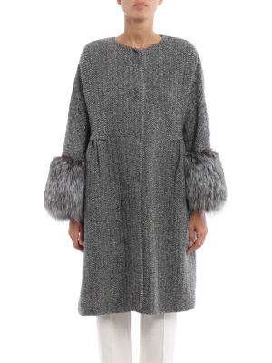 Ermanno Scervino: knee length coats online - Fur cuffed collarless chevron coat