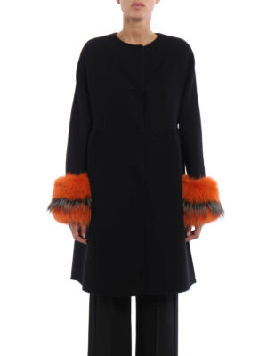 Ermanno Scervino: knee length coats online - Fur cuffed collarless coat