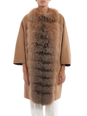 Ermanno Scervino: knee length coats online - Fur trimmed angora and wool coat