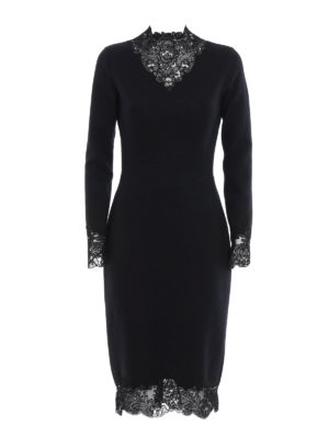 Ermanno Scervino: knee length dresses - Lace embellished wool blend dress